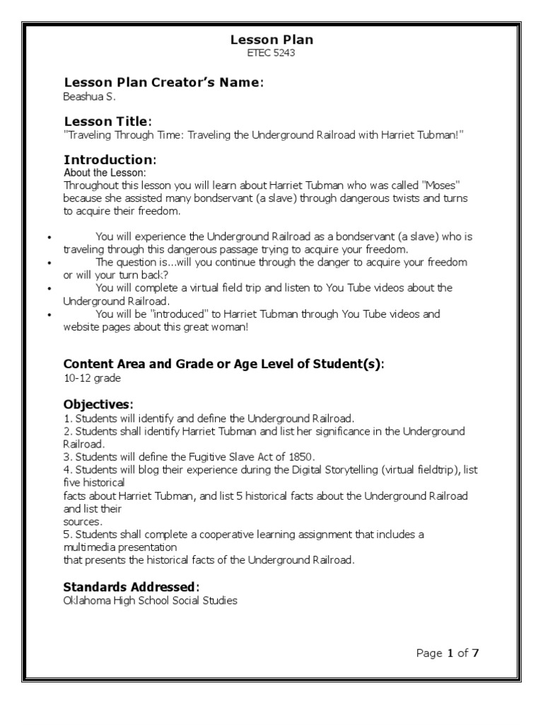 Worksheets Harriet Tubman Worksheets harriet tubman lesson plan homework plan