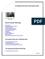 Teacher Resources for Harriet Tubman UGRR Wiki Lesson