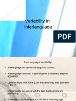 Variability in Inter Language