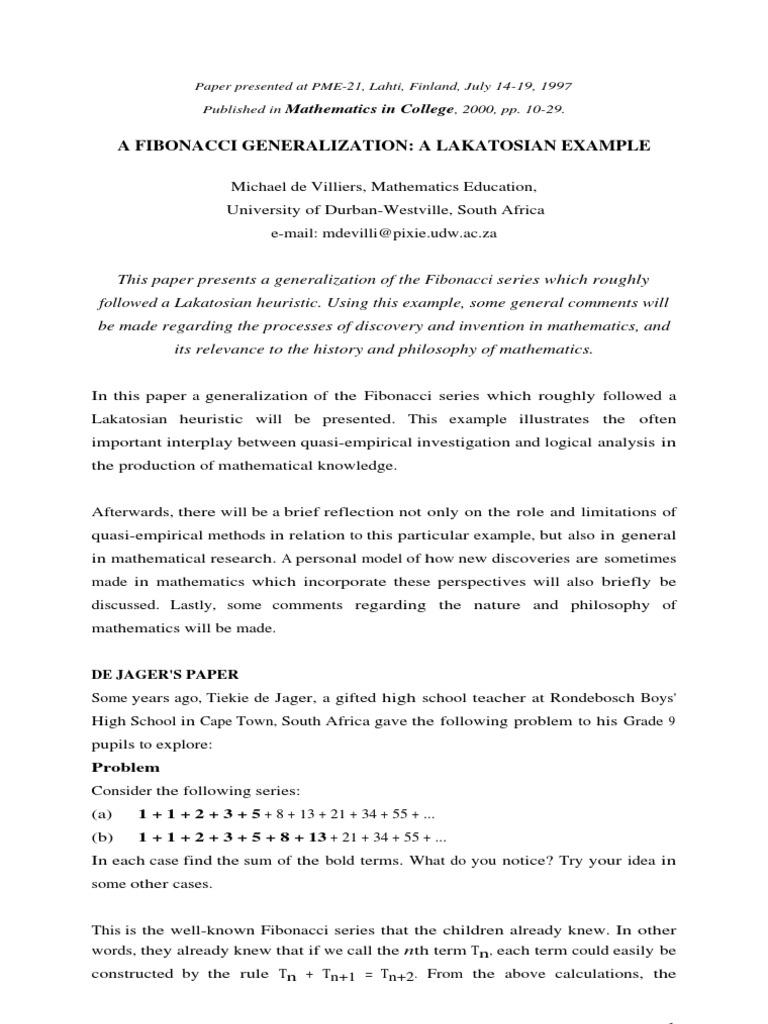A Fibonacci Generalization: A Lakatosian Example