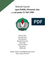 Makalah Sejarah Perkembangan Politik Ekonomi Dan Sosial Pasca 21 Mei 1998