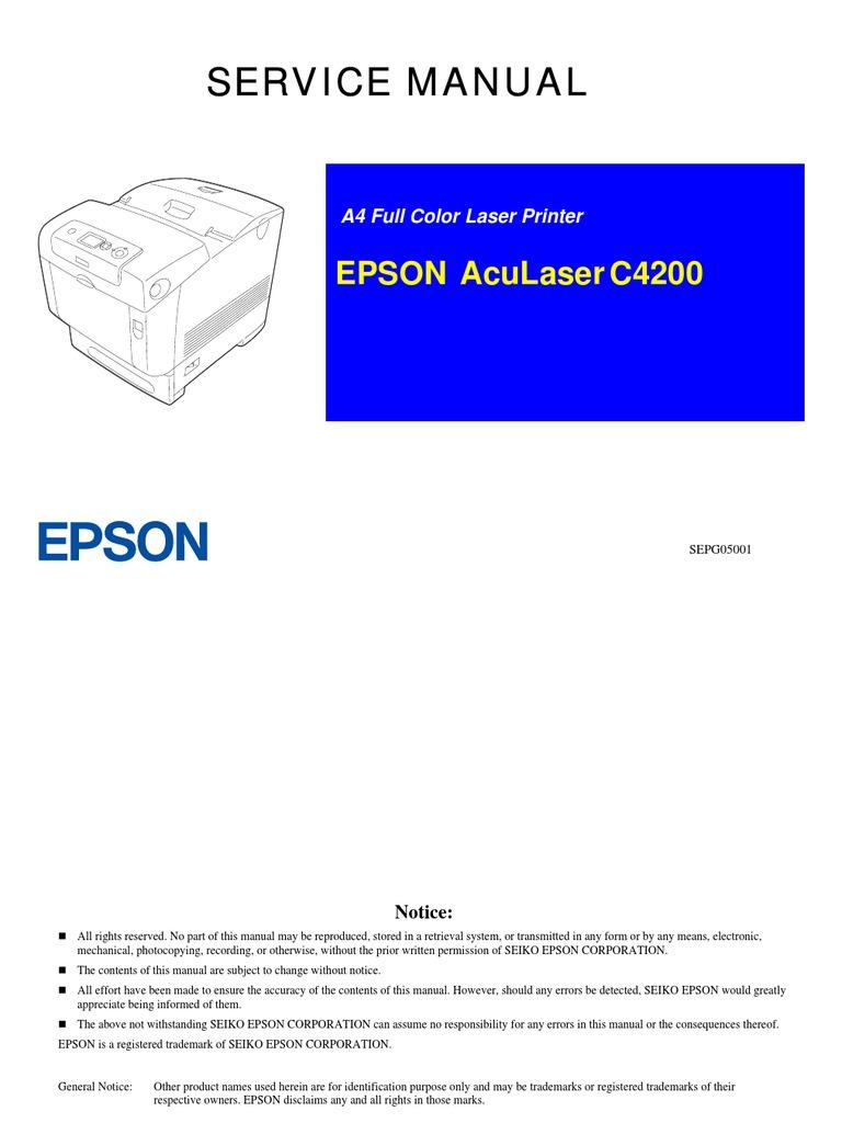 epson aculaser c4200 service manual printed circuit board rh es scribd com Owner's Manual Owner's Manual