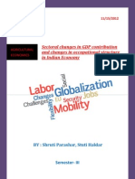 sectoral changes in GDP contributions and changes in occupational structure in context of INDIA