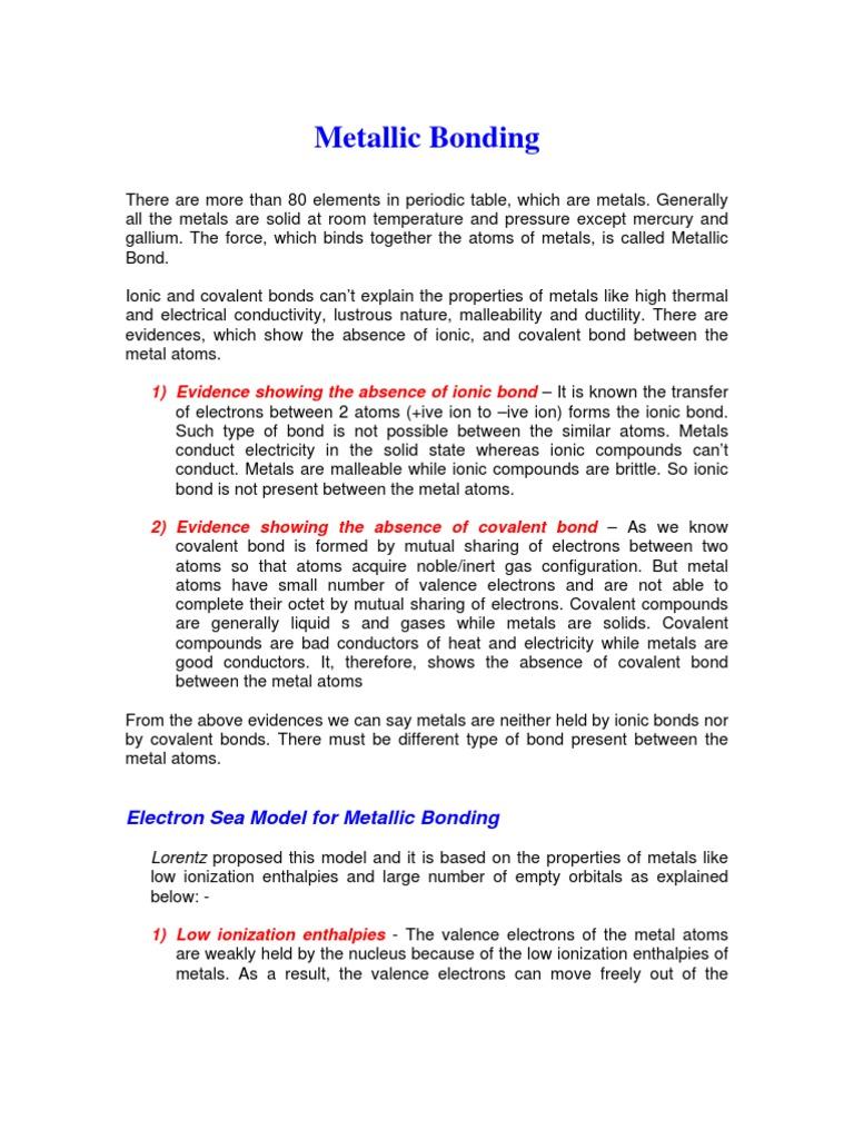 Metallic bond ionic bonding chemical bond fandeluxe Gallery