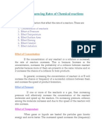 Factors Influencing Rates of Chemical Reactions