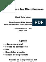 Scoring Para Las Microfinanzas