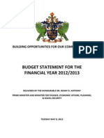 Saint Lucia Budget Statement for the Financial Year 2012/2013, May 2012