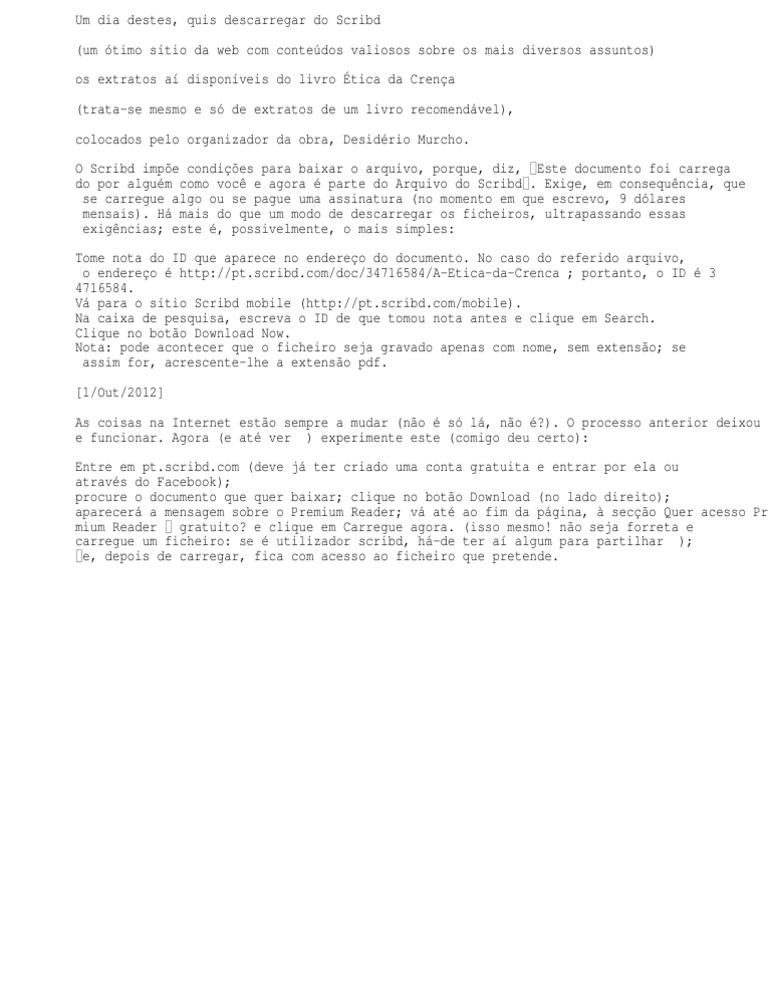 GRATIS DO BAIXAR ARQUIVOS SCRIBD