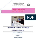 QUS 209 Tendering & Estimating I