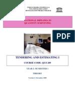 QUS 209 Tendering & Estimating I