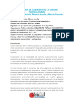 Programa de Gobierno de La Unidad Plurinacional