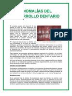 Anomalías del Desarrollo Dentario