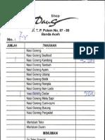 Daftar Makanan dan Minuman di Daus Shop Banda Aceh (November 2009)