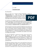 Extraordinary Shareholders' Meeting of 11.28.2008 - Letter to the Shareholders