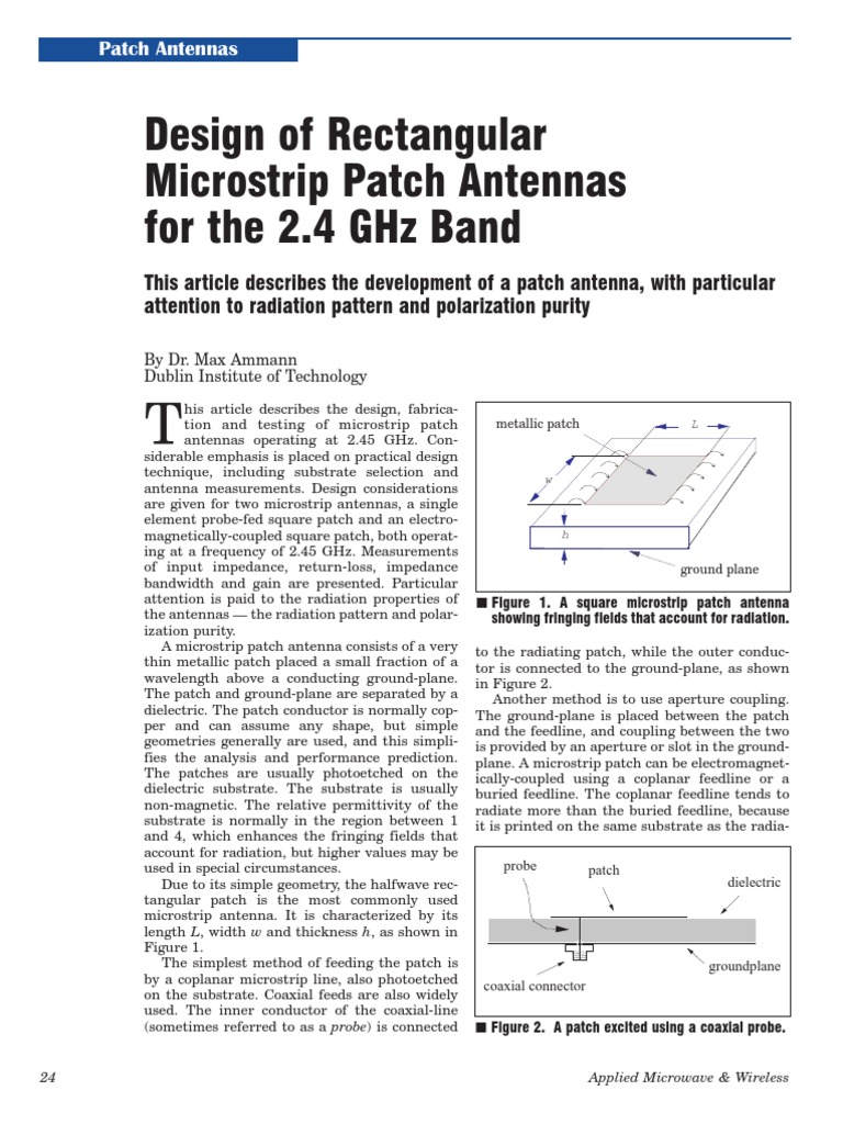 Design of Rectangular Microstrip Patch Antennas for the 2 4 Ghz Band