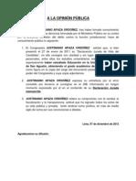 NP. ACLARACIÓN DEL CONGRESISTA JUSTINIANO APAZA ORDÓÑEZ- 07122012