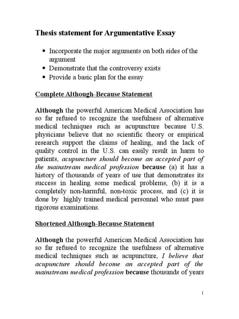 Thesis Statement For Argumentative Essay