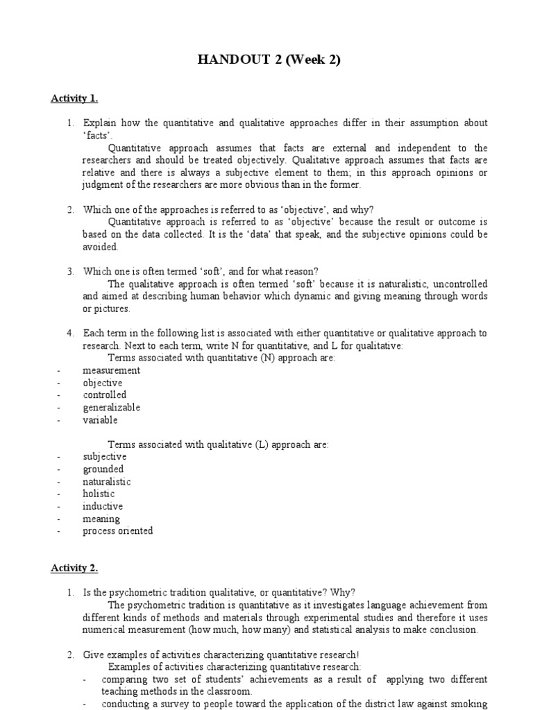 Handout 2 Quantitative Research Qualitative Research