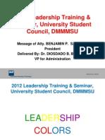 Dmmmsu Usc Leadedrship Training