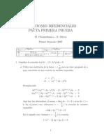 Pauta Prueba Ecuaciones diferenciales