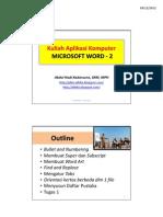Kuliah Aplikasi Komputer - MS Word-2