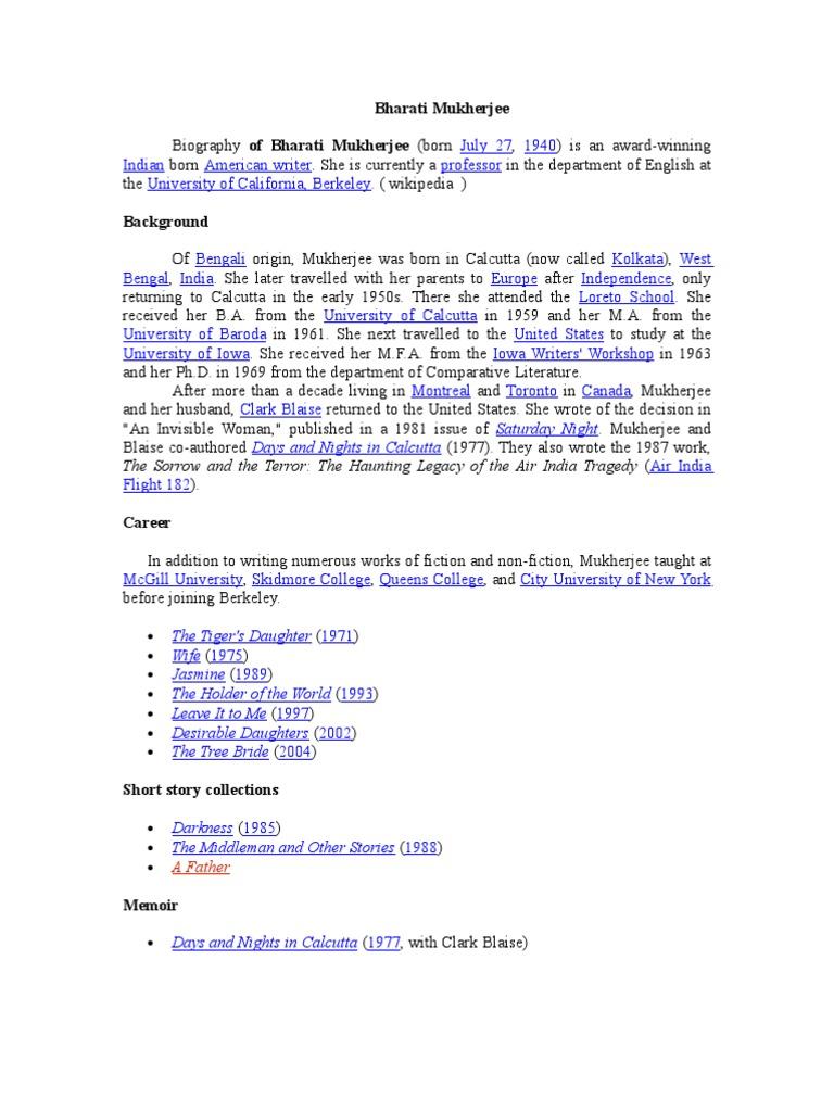 a father by bharati mukherjee pdf