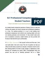 ELT Professional Competencies for Student Teachers