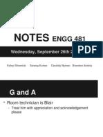 ENGG 481 Notes Sept 26, 2012