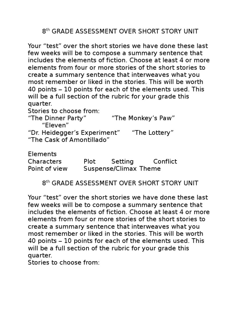 "8th Grade Assessment Over Short Story Unit Your ""Test"""