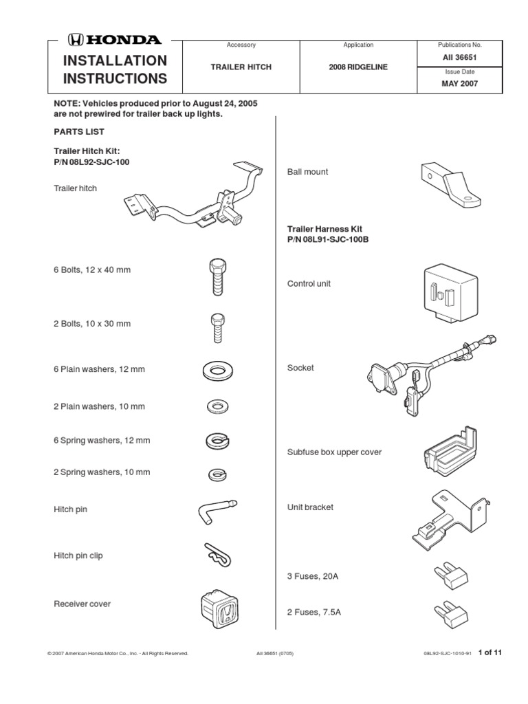 ridgeline fuse location and diagram wiring library2008 ridgeline trailer hitch aii36651 electrical connector trailer (vehicle)