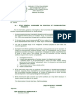 1988 05 02 No. 1988-04 BFAD General Guidelines on Donation of Pharmaceutical Product