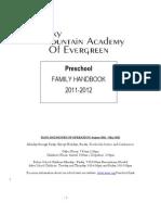 The Preschool at RMAE Handbook