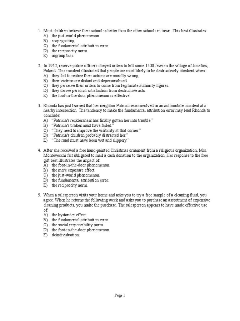 Sociology Unit Exam 2008 Prejudices Attitude Psychology