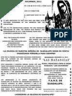 Las Mañanitas a Lupita Flyer December 2012