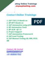 SAP Testing, SAP Manual Testing, SAP Automation Testing, Automation, SAP TAO, SAP BPT, HP QTP, HP BPT , SAP TAO 2.0.7, SAP TAO 1, HP QTP 11
