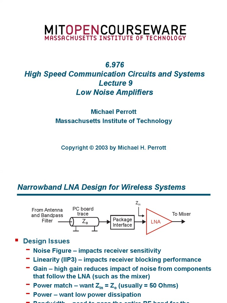 Mit Ocw Lecture 9 Amplifier Cmos Analogue Radio Control By Sm0vpo
