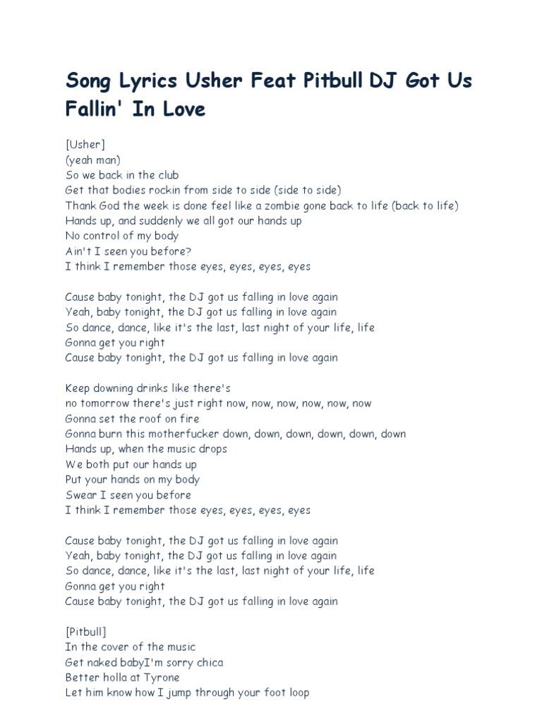 Song Lyrics Usher Feat Pitbull Dj Got Us Fallin In Love