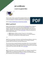Diplomas and certificates Française