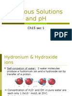 Sec 15-1 Aqueous Solutions and pH