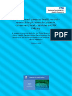 The web-based personal health record – research implications for patients, consumers, health services and UK industry