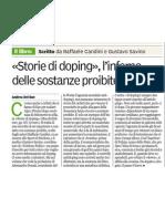 Recensione STORIE DI DOPING - Gazzetta di Parma, 8 dic. 2012, di Andrea del Bue