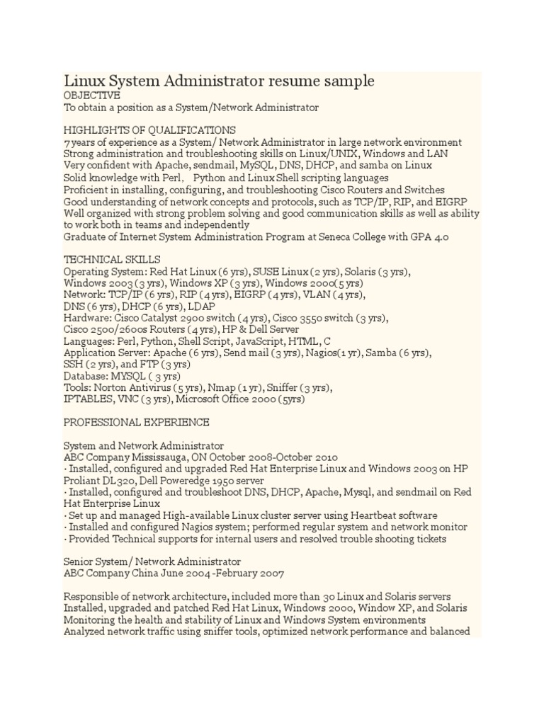 resume format for system administrator