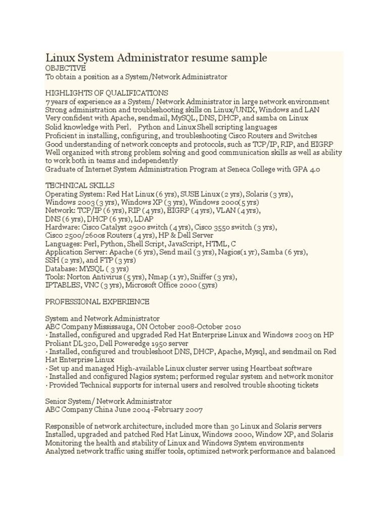 Linux System Administrator Resume Sample | Linux | System Administrator  Administrator Resume Sample