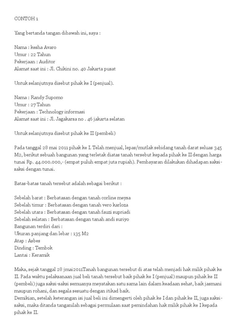Contoh Surat Pernyataan Jual Beli Rumah Simak Gambar Berikut
