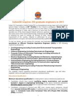 IndianOil Requires 250 Graduate Engineers in 2013