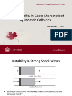 Shock Instability in Gases Characterizedby Inelastic Collisions