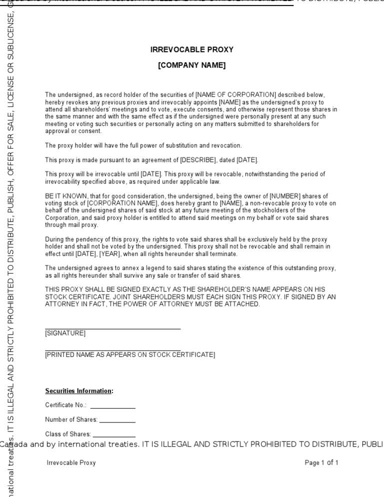Proxy Irrevocable Proxy Voting Treaty