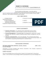 My Resume - Randy W Raymond