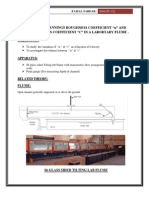Determine Mannings Roughness Coefficient and Chezy Roughness Coefficient in a Labortary Flume