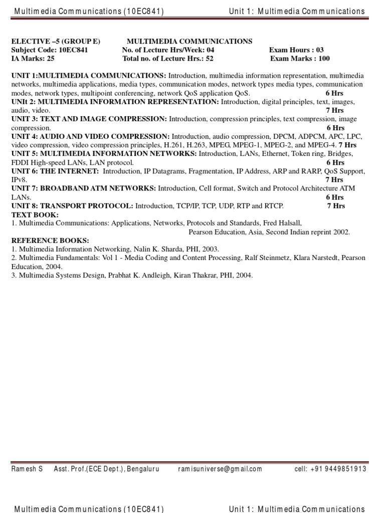 Multimedia Communication - ECE - VTU - 8th Sem - Unit 1